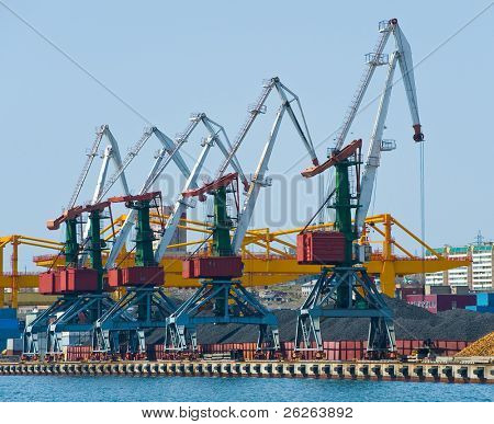 cranes at coal terminal at russian port Vladivostok