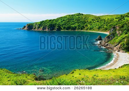 sea coast landscape of Putyatin Isle of Russian Primorye