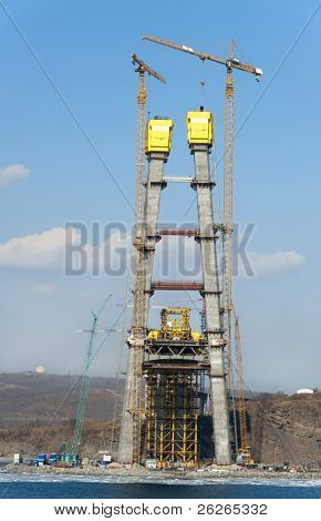 construction of big guyed bridge in the russian Vladivostok over the Eastern Bosphorus strait to the Russky Isle