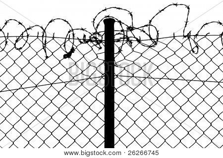 vector of fence with barbed wires