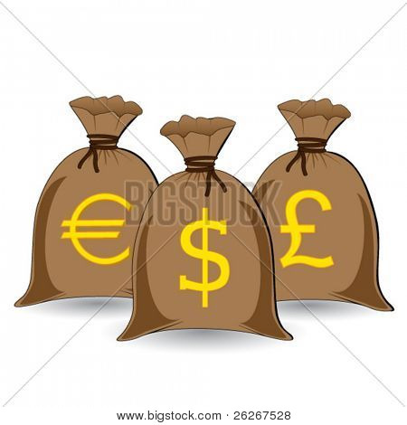 vector of three full money sacks