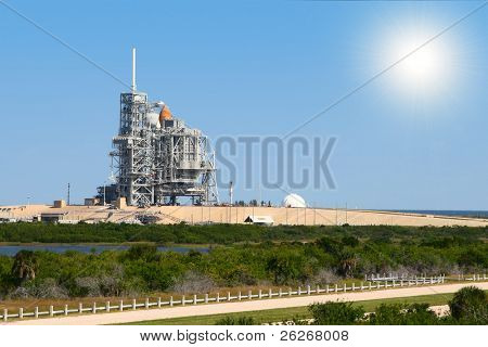 space shuttle on launch platform