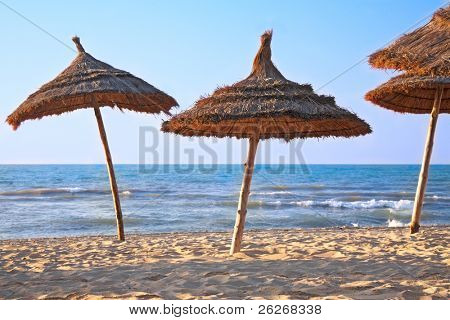 thatched sunshades on the beach