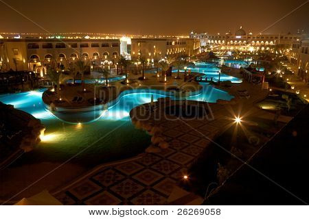 resort pool at evening