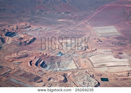 aerial view of open-pit copper mine in Atacama desert, Chile