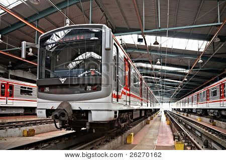 PRAGUE - SEPTEMBER 17: Modernized subway trains 81-71M in Depot Hostivar on Open Doors Day on September 17, 2011 in Prague. Prague Public Transport Company invites the public to view the depot.