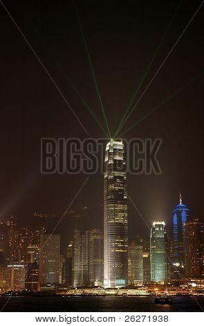 Night scene of skycraper create laser beams in Hong Kong