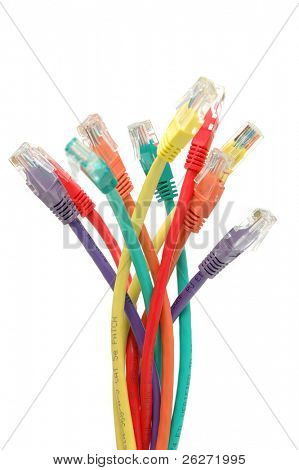 Multi, color network cables in isolated white background