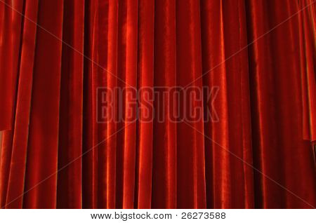 Theater stage red curtains with light and shadow