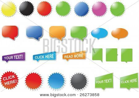 Mixed set of candy bubbles and speech bubbles