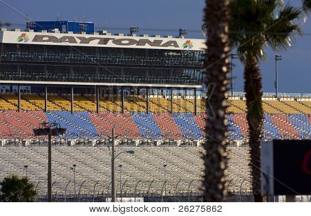 DAYTONA BEACH, FL - FEB 4:The backstretch grandstands wait for fans before the first practice session for the Daytona 500 Sprint Cup race Feb 4, 2010 in Daytona Beach, FL