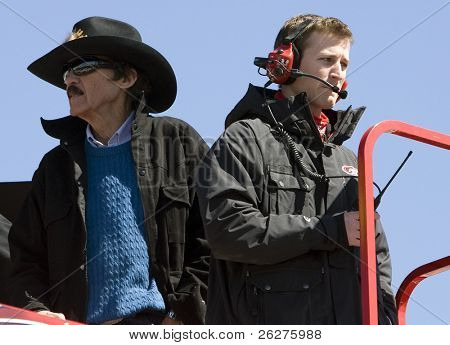 HAMPTON, GA - MAR 5:  Richard Petty and Kasey Kahne stand on top of the Budweiser hauler during practice for the Kobalt Tools 500 at Atlanta Motor Speedway on Mar 5, 2010 in Hampton, Georgia