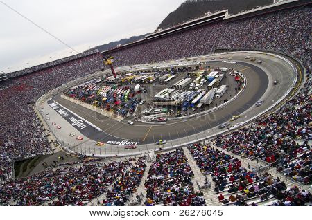 BRISTOL, TN - MAR 21: The NASCAR Sprint Cup teams take to the track for the running of the Food City 500 race at the Bristol Motor Speedway on Mar 21, 2010 in Bristol, TN.