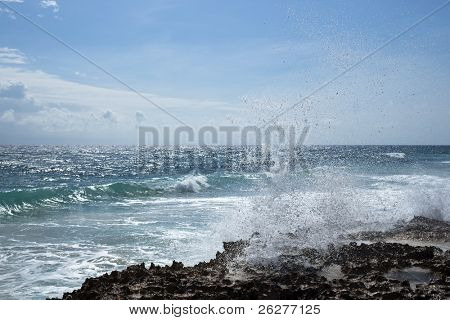 A blowhole on the southeastern side of Cozumel, Mexico