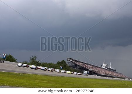 LONG POND, PA - JUNE 06:  Rain threatens the start of the Gillette Fusion ProGlide 500 race at the Pocono Raceway in Long Pond, PA on June 6, 2010