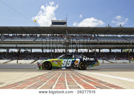INDIANAPOLIS, IN - JULY 23:  Carl Edwards brings his Aflac Ford Fusion down pit road for the Brickyard 400 race at the Indianapolis Motor Speedway on July 23, 2010 in Indianapolis, IN.