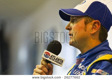 HAMPTON, GA - SEP 04:  Kurt Busch takes questions from the media before qualifying for the Emory Healthcare 500 race at the Atlanta Motor Speedway in Hampton, GA on Sep 04, 2010.