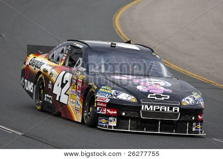 LOUDON, NH - SEP 18:  Juan Pablo Montoya brings his Chevrolet through the turns during practice for the Sylvania 300 race at the New Hampshire Motor Speedway in Loudon, NH on Sept 18, 2010