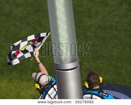 DAYTONA BEACH, FL - FEB 19:  Tony Stewart (4) inches out Kevin Harvick (33) to win the DRIVE4COPD 300 race at the Daytona International Speedway in Daytona Beach, FL on Feb 19, 2011.