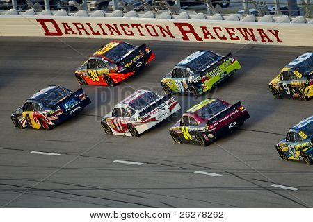 DARLINGTON, SC - MAY 07, 2011:  The NASCAR Sprint Cup Series teams take to the track for the Showtime Southern 500 race at the Darlington Raceway in Darlington, SC on May 07, 2011.