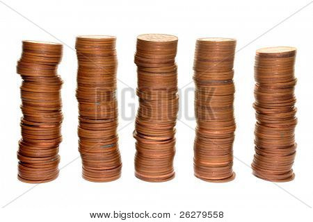 Stacks of 1960's British half penny coins.