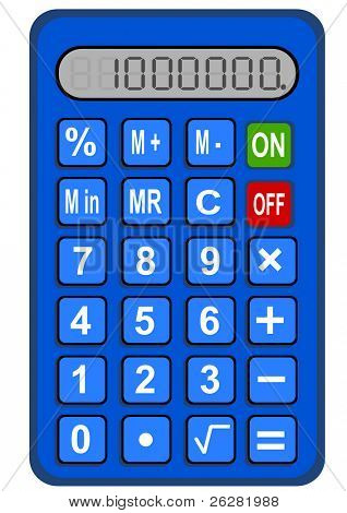 One million on a blue calculator.