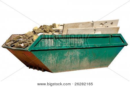 A skip full of building materials rubbish isolated on white.