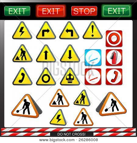 big set of shiny under construction, warning and fire safety signs and symbols