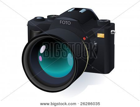 high detailed vector professional SLR camera
