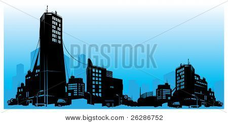 vector detailed city skyline