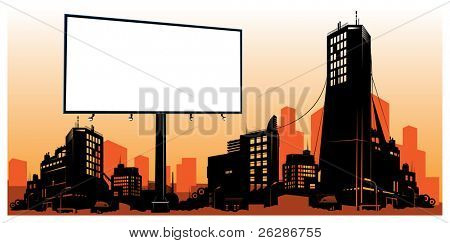 detailed city skyline with billboard