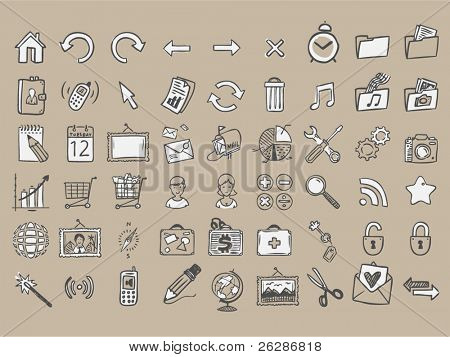 set of 54 doodle icons on craft paper