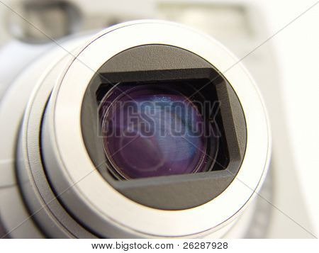 Closeup of a digital camera len