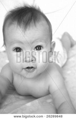 Little Baby Girl on Blanket