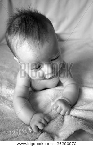 Little Baby on blanket in black and white