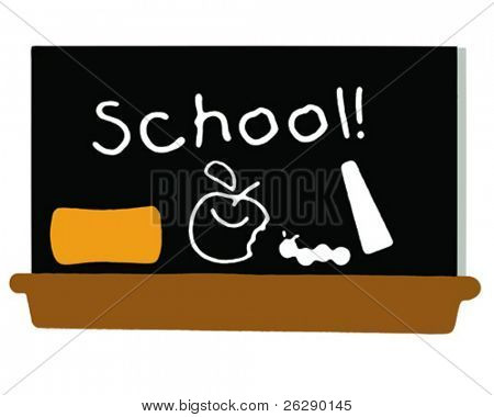 School Black Board with apple and school on the board (vector)
