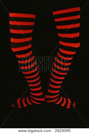 Thigh High Striped Stockings On Black