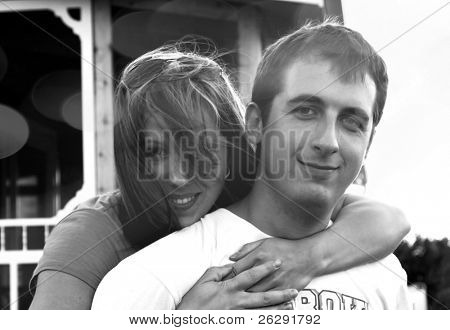 Black and white photo of young caucasian couple