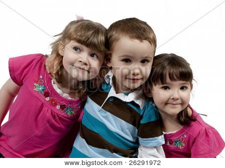 Three Adorable little kids isolated on white background