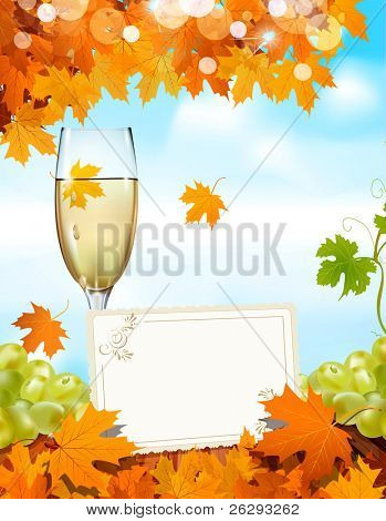 grapes and a glass of wine standing on a wooden table with a greeting card, the blue sky and autumn maple leaves (JPEG version)