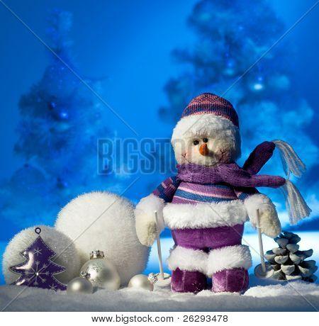 snowman ander christmas tree