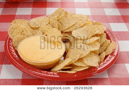 Tortilla Chips And Cheese Sauce