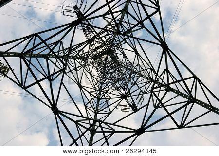 High voltage electric pillar metal framework from under