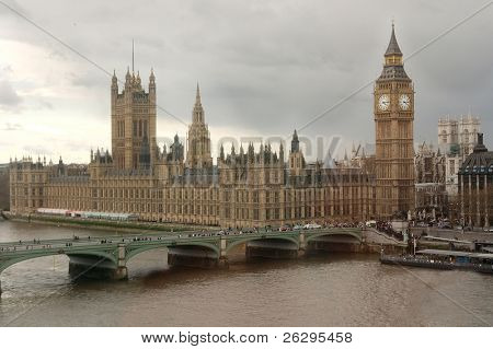 England's parliament in typical English overcast weather