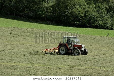 Summer agricultural field with tractor