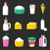 Vector Cartoon Milk Products poster