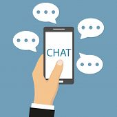 Man Chatting With Chat Bot On Smartphone. Use Smartphone Chat Message For Chat Bot On A Blue Backgro poster