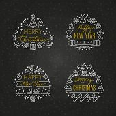 Christmas Holiday Decorative Vector Emblems With Winter Festive Xmas Line Icons And Greeting Text On poster