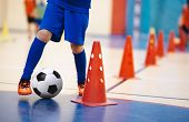 Indoor Soccer Players Training With Balls. Indoor Soccer Sports Hall. Indoor Football Futsal Player, poster