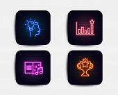 Neon Glow Lights. Set Of Idea, Efficacy And Music Book Icons. Victory Sign. Professional Job, Busine poster